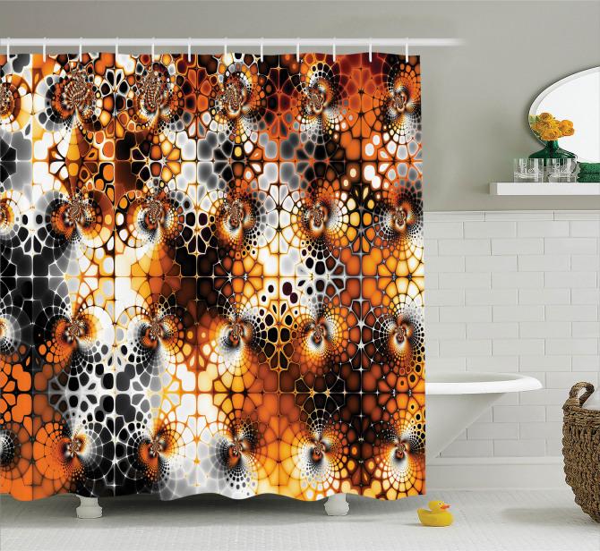 Duş Perdesi Nostaljik Mozaik Desenli Turuncu Siyah
