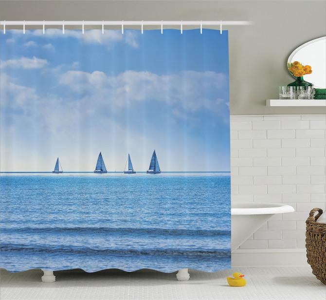 Mavi Duş Perdesi Okyanusta Yolculuk Temalı Yelkenli