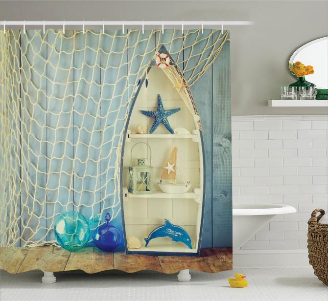Açık Mavi Duş Perdesi Deniz Yıldızı Balıkçı Dekoru