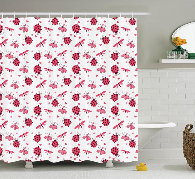 Bahar Temalı Duş Perdesi Çeyizlik Şık Çiçek Kırmızı