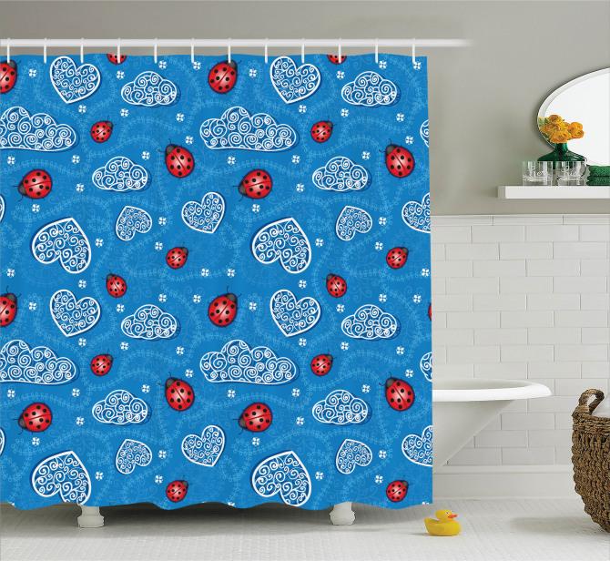 Bahar Temalı Duş Perdesi Çeyizlik Mavi Kırmızı Çiçek
