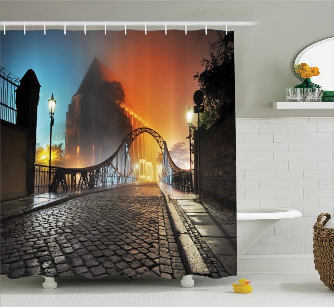 Romantik Yürüyüş Temalı Duş Perdesi Otantik Köprü