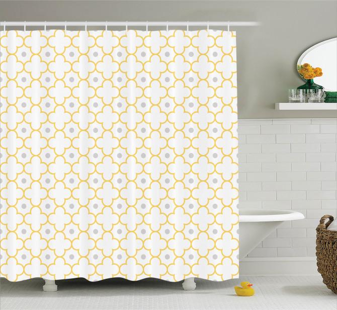 Beyaz Duş Perdesi Şık Tasarım Sarı Yonca Desenli