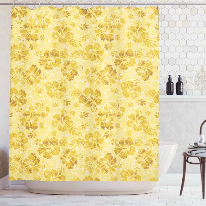 Sarı Duş Perdesi Egzotik Çiçek Desenli Çeyizlik