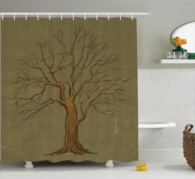 Suluboya Resmi Etkili Duş Perdesi Sonbahar Ağaç