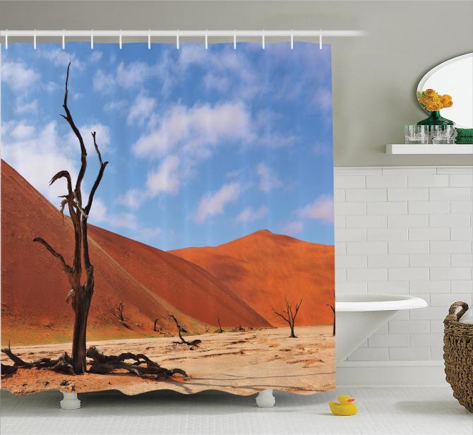 Afrika Temalı Duş Perdesi Çöl Manzaralı Namibya