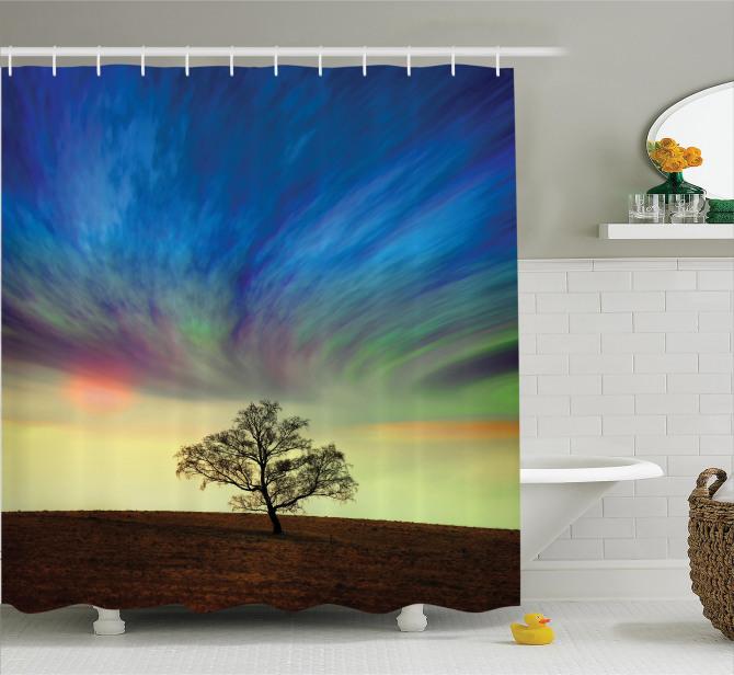 Yalnız Ağaç Temalı Duş Perdesi Sürreal Gökyüzü