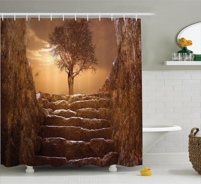 Kahverengi Duş Perdesi Ağaç Köy Hayatı Kırsal