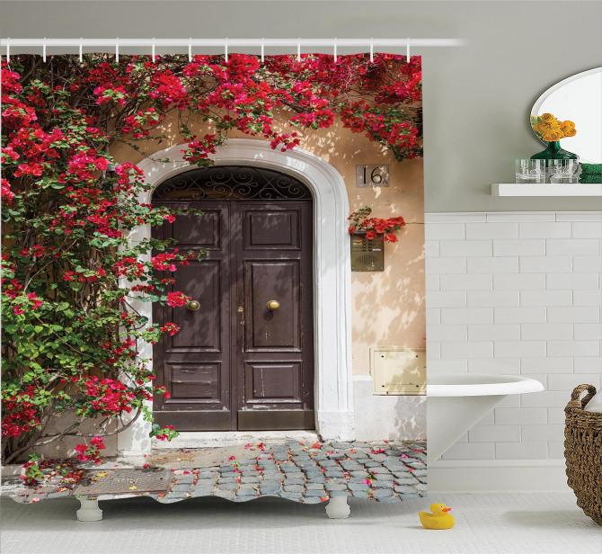 Bahar Temalı Duş Perdesi Pembe Filizlenen Çiçekler