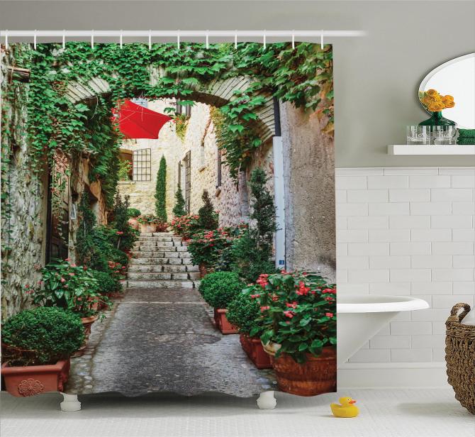 Antik Fransız Sokağı Temalı Duş Perdesi Çiçekler