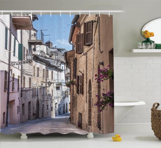 Nostaljik Duş Perdesi Antik İtalyan Sokağı Temalı