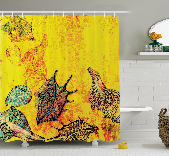 Sarı Duş Perdesi Deniz Kabuğu Sualtı Yaşam Temalı