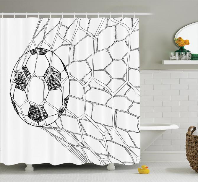 Karakalem Çizimi Etkili Duş Perdesi Kale Futbol Topu