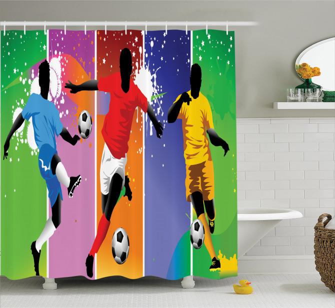 Rengarenk Duş Perdesi Futbol Temalı Spor Ombre