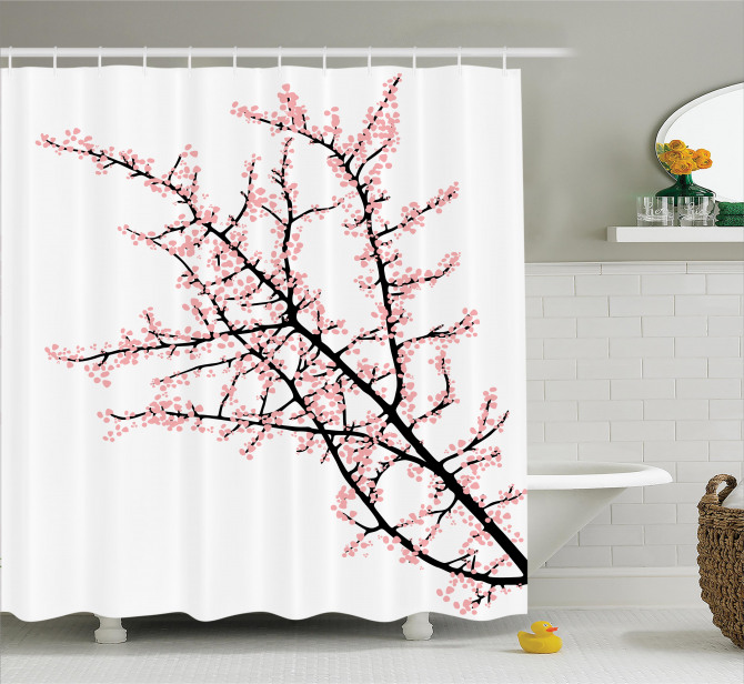 Cherry Branch Floral Shower Curtain