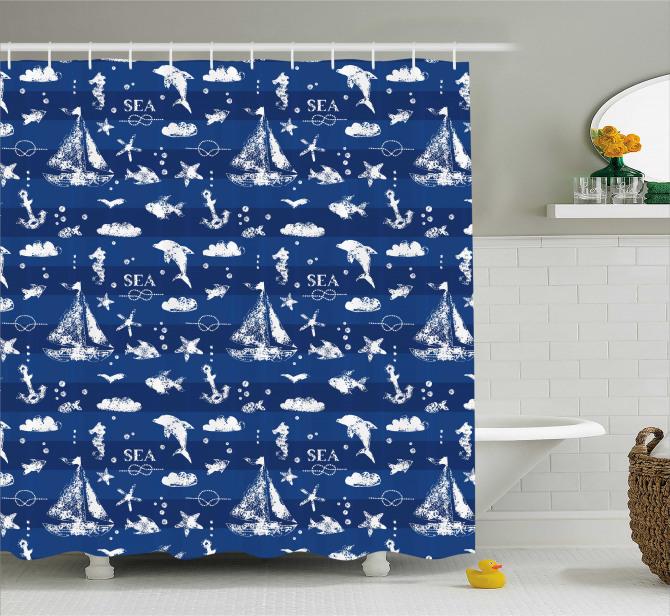 Lacivert Duş Perdesi Deniz Temalı Balık Yelken Beyaz