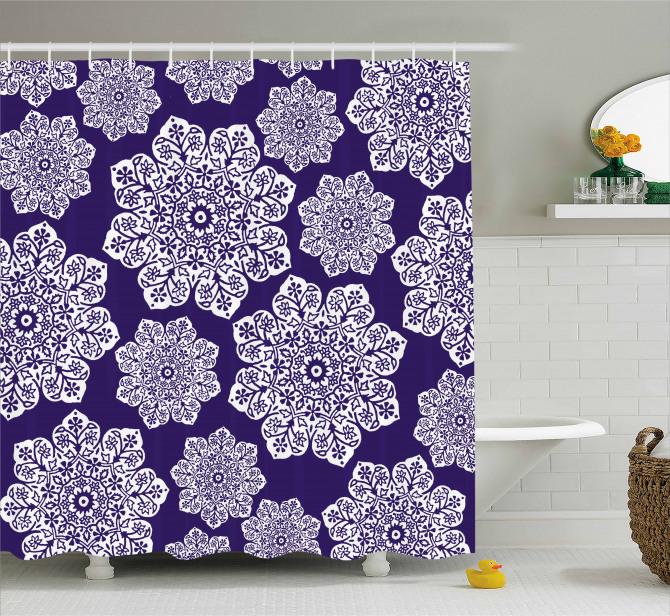 Çeyizlik Duş Perdesi Çiçekli Lacivert Şık Tasarım