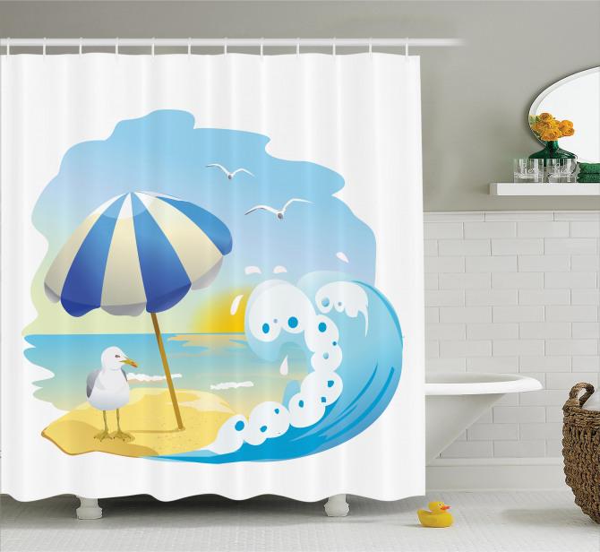 Seagull At Beach Kids Shower Curtain
