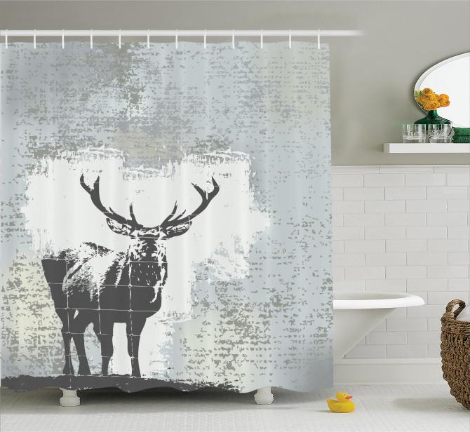 Geyik Figürlü Duş Perdesi Modern Sanat Tasarım