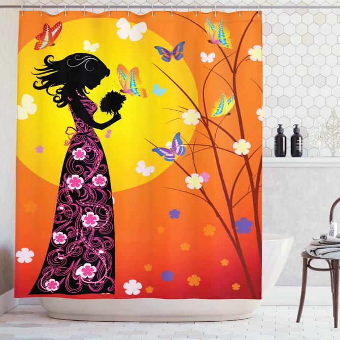 Bahar Temalı Duş Perdesi Kelebekler Güneş Çiçekler