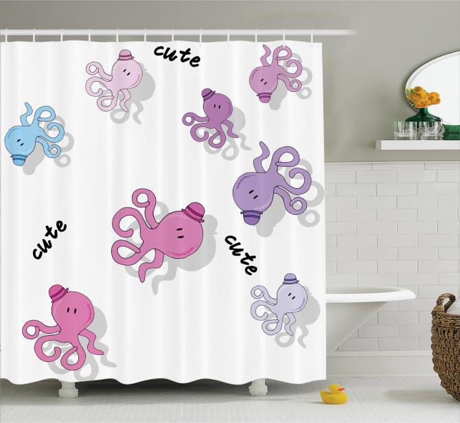 Çocukları için Duş Perdesi Sevimli Ahtapot Desenli