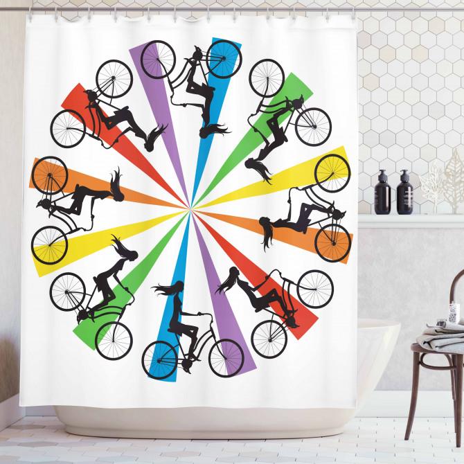 Gökkuşağı Temalı Duş Perdesi Bisikletli Kadınlar