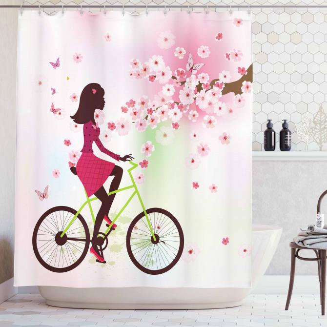 Pembe Duş Perdesi Bahar Çiçekleri ve Bisikletli Kız