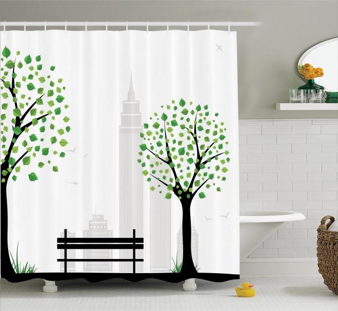 Şehir Manzarası Temalı Duş Perdesi Ağaç Siyah Beyaz