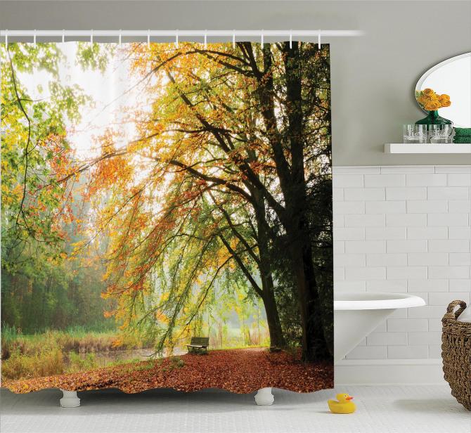 Sonbahar Temalı Duş Perdesi Nehir Orman Ağaç Yeşil
