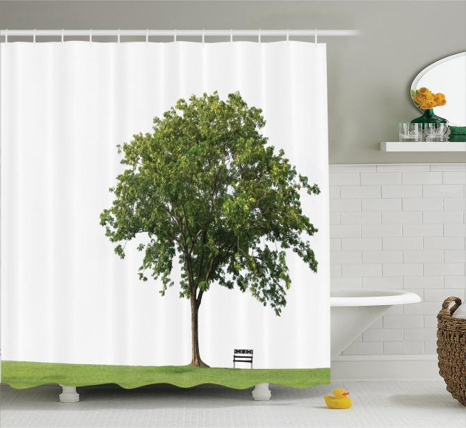 Doğada Huzur Temalı Duş Perdesi Ağaç Yeşil Beyaz