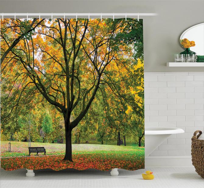 Romantik Sonbahar Temalı Duş Perdesi Turuncu Yaprak