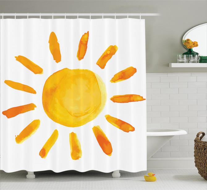 Suluboya Resmi Etkili Duş Perdesi Güneş Deseni Sarı