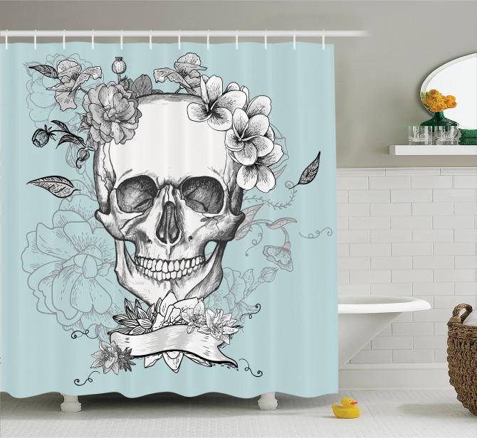 Turkuaz Duş Perdesi Kurukafa ve Çiçekler Temalı