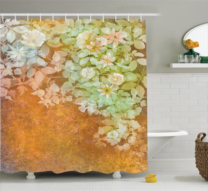 Suluboya Resmi Etkili Duş Perdesi Nostaljik Çiçekler