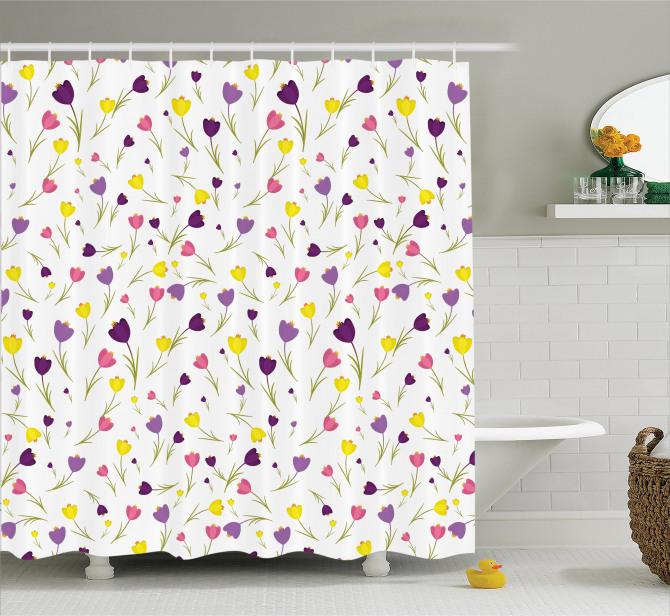 Bahar Temalı Duş Perdesi Rengarenk Lale Desenleri