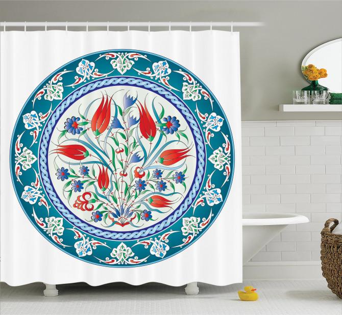 Osmanlı Tarzı Süslemeli Duş Perdesi Otantik Çiçekler
