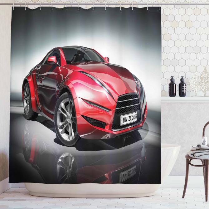 Kırmızı Yarış Arabası Desenli Duş Perdesi Siyah