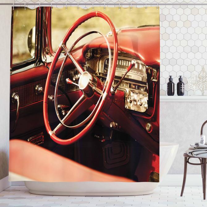 Nostaljik Duş Perdesi Kırmızı Klasik Araba Retro