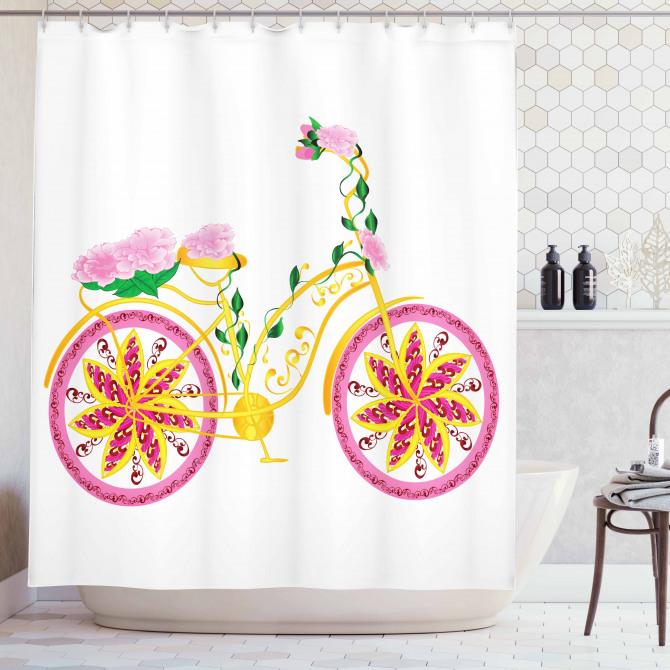 Pembe Bisiklet Desenli Duş Perdesi Çiçek Sarı Yeşil