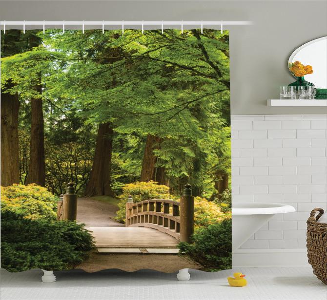 Doğada Yolculuk Temalı Duş Perdesi Ağaçlar Huzur