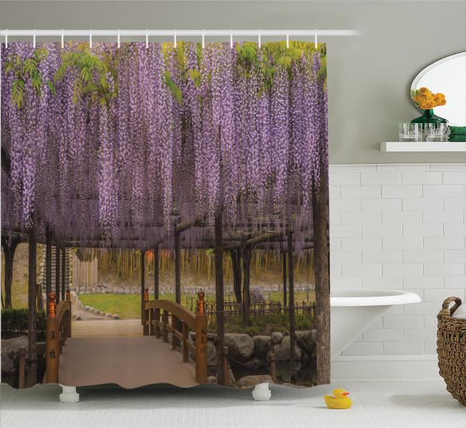 Japon Bahçesi Temalı Duş Perdesi Mor Bahar Çiçekleri