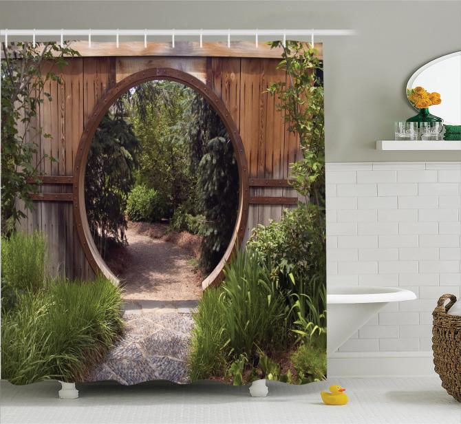 Otantik Kapı Duş Perdesi Japon Bahçesinde Gezinti