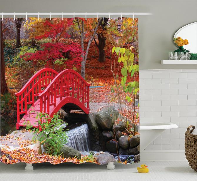 Sonbahar Bahçesi Manzaralı Duş Perdesi Dere Turuncu