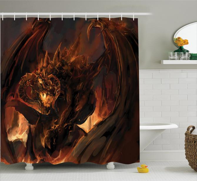 Ejderha Desenli Duş Perdesi Fantastik Mitolojik