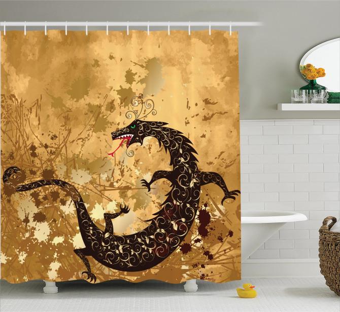 Kahverengi Duş Perdesi Ejderha Fantastik Savaş