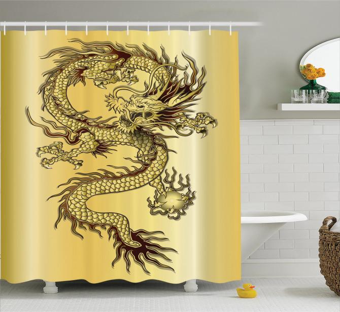 Altın Sarısı Duş Perdesi Ejderha Fantastik Mitolojik