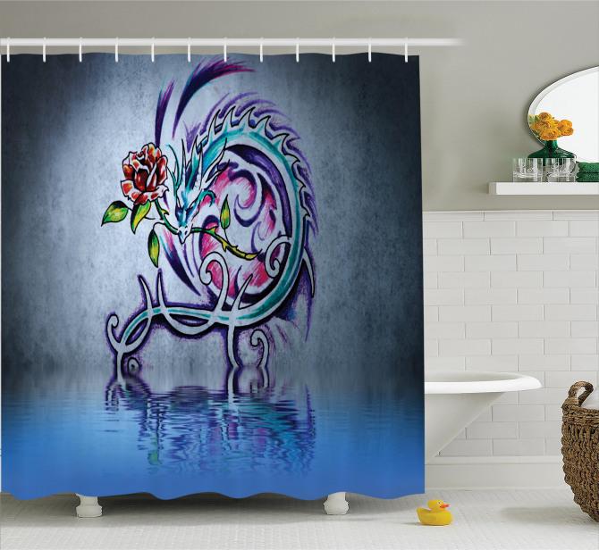 Ejderha Desenli Duş Perdesi Gül Modern Sanat Gri