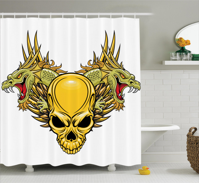 Ejderha ve Kurukafa Temalı Duş Perdesi Fantastik