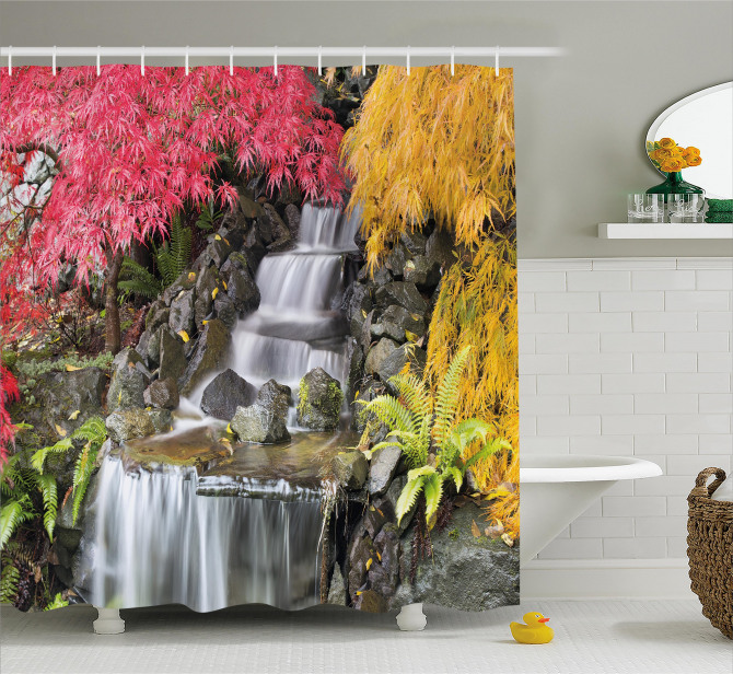 Şelale Manzaralı Duş Perdesi Renkli Bahar Yaprakları