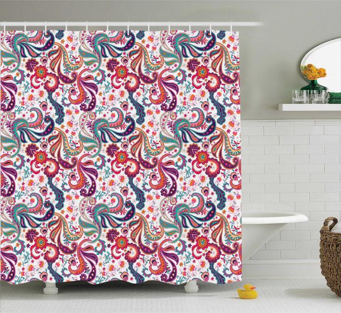 Rengarenk Çiçek Desenli Duş Perdesi Nostaljik Stil